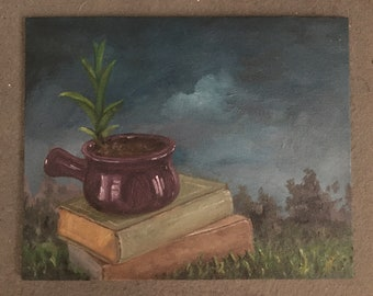 Landscape painting, small landscape painting, oil painting landscape art  oil landscape small oil painting, painting of books Book art