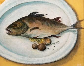 Fish Painting Fish Art Painting of Fish Fish on Plate Plate of Fish Food Painting Painting of Food Still Life with Fish Still Life Painting