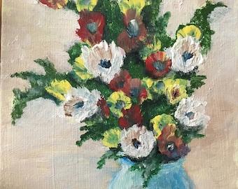 Flower painting, acrylic painting, flower art flower paintings mothers day gift small painting flowers flower vase gift acrylic flowers art