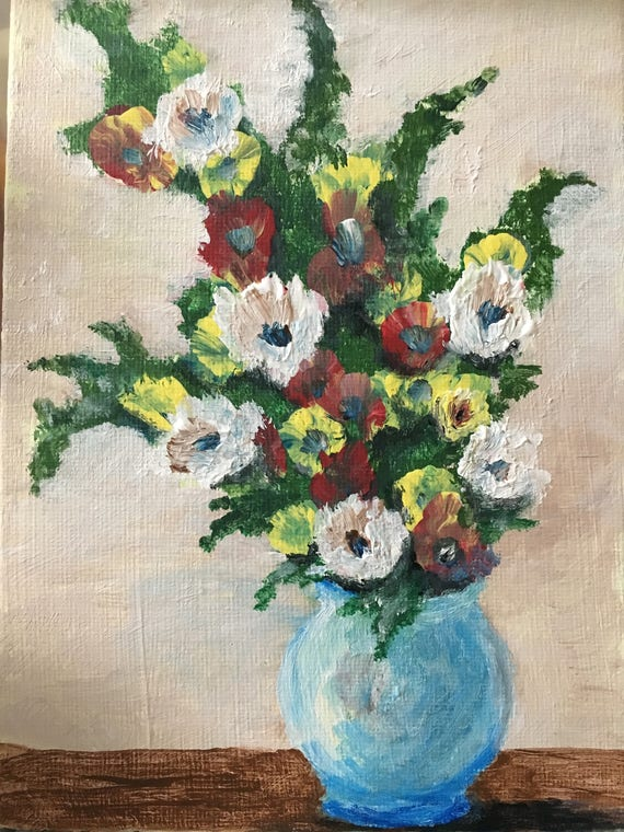 Etsy & Flower painting acrylic painting flower art flower paintings mothers day gift small painting flowers flower vase gift acrylic flowers art
