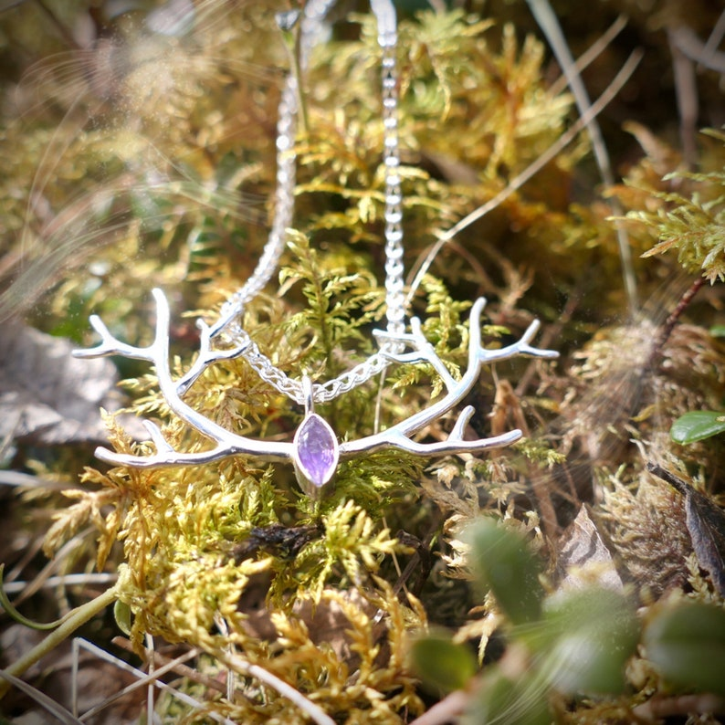 Deer antler pendant Deer jewelry Reindeer necklace Amethyst necklace Antler necklace Norwegian jewelry Silver antler