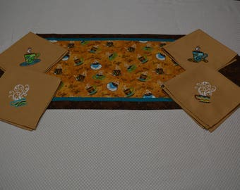 Reversible Coffee Table Runner with Coordinating Embroidery Napkins
