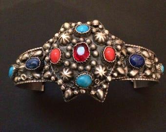 Berber silver bracelet, multi color stones. Berber Cuff Bracelet; Ethnic Jewelry. Berber Jewelry. Collectible.