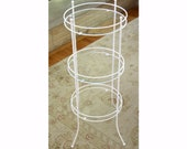 MCM Round Three Tiered Plant Vaniety Stand with Glass Shelves