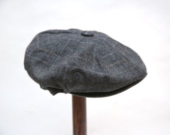 Epoch Gray Wool Great Gatsby Newsboy Cap 8 Panel Plaid Flannel Lining Large 541e6c8a5075