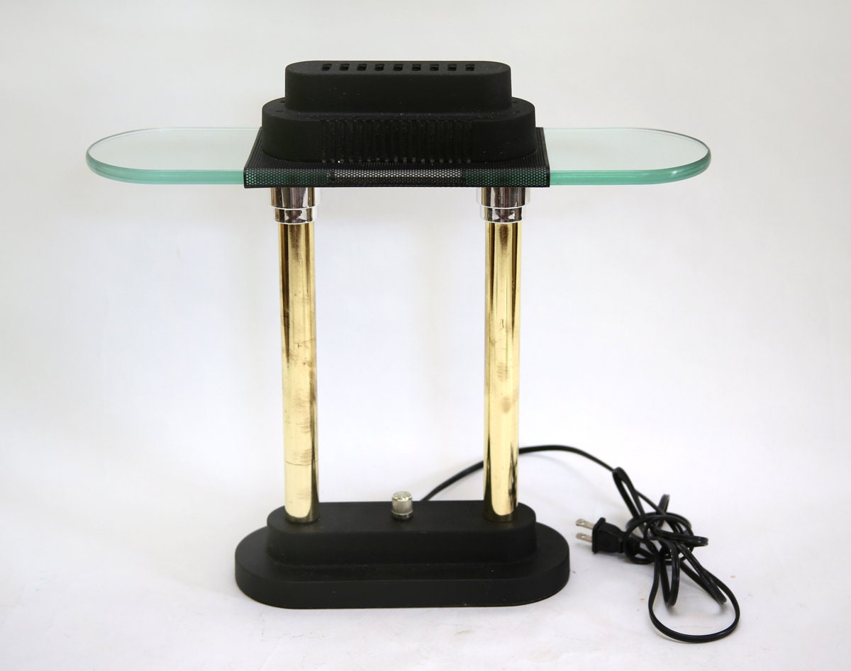 Vintage Sonneman Brass And Glass Desk Light Halogen Dimmable Etsy