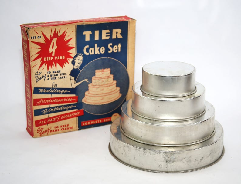 Excellent 1950S Four Tiered Wedding Birthday Cake Pans Set In Etsy Personalised Birthday Cards Cominlily Jamesorg