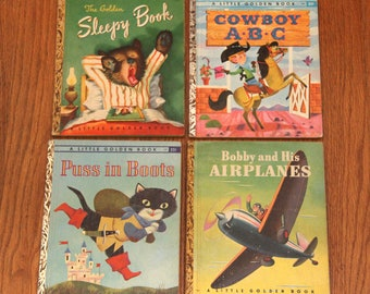 4 Vintage Little Golden Books Great Condition! 1940's-1960's Puss In Boots