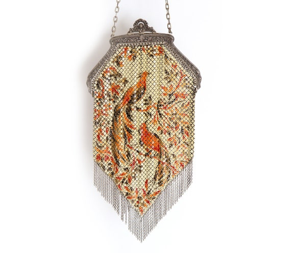 1920's Madalian Mesh Metal Flapper Purse Peacocks