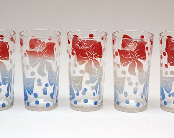 Set Of 5 Vintage Drinking Glasses Red & Blue Bows And Polka Dots