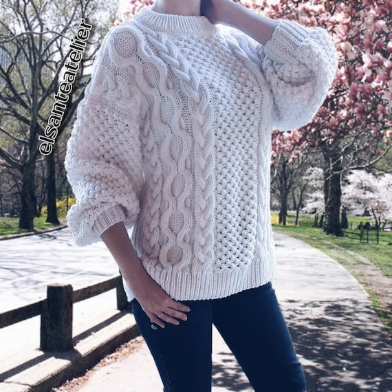 Amazing Oversize Knitted Sweater , Cable knit Sweater , Cozy Handmade  Sweater , Women\u0027s Winter Fall Sweater