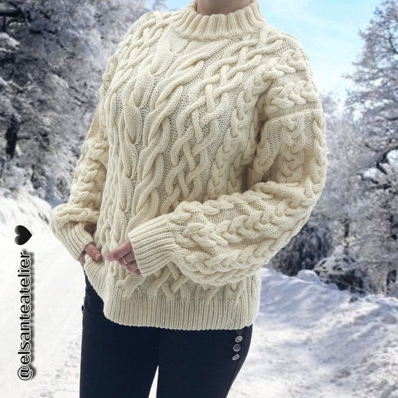 Amazing Merino Wool Knitted Sweater , Cable knit Sweater , Cozy Handmade  Sweater , Women\u0027s Winter Fall Sweater