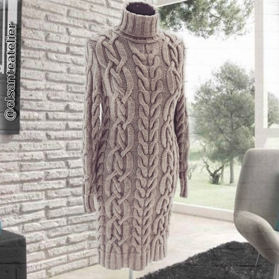 Turtleneck Sweater Dress Cable Knit Handmade Sweater Etsy
