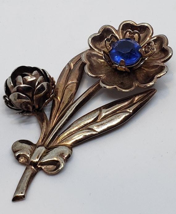 Fabulous Vintage 1940's Metal Flower Brooch