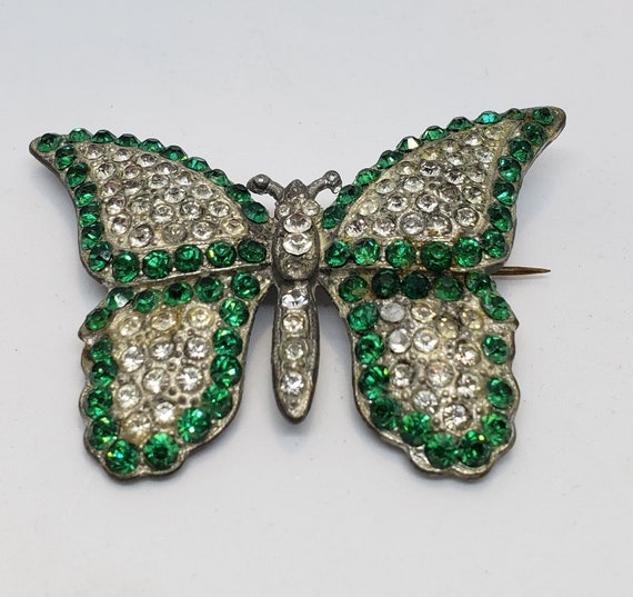 20s/30s Pot Metal and Rhinestone Butterfly Brooch