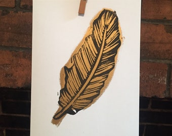 Gold Feather Print