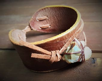 Leather and Crystal Cuff