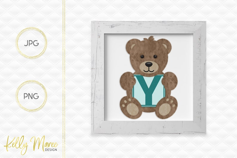 Letter Y Bear Clipart  Alphabet Graphics  Teddy Bear Graphic image 0