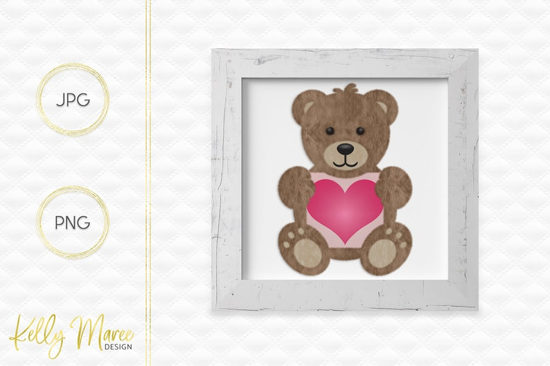 Heart Bear Clipart  Bear Graphics  Teddy Bear Graphic  image 0