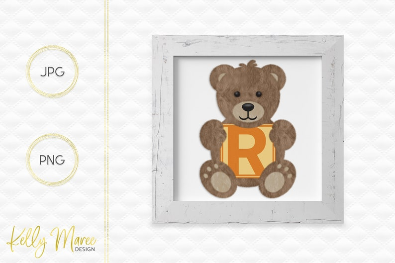 Letter R Bear Clipart  Alphabet Graphics  Teddy Bear Graphic image 0