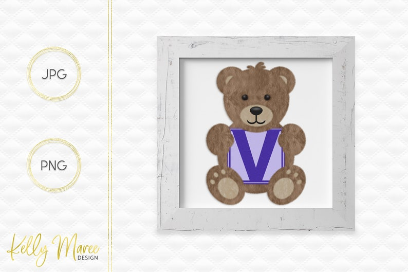 Letter V Bear Clipart  Alphabet Graphics  Teddy Bear Graphic image 0
