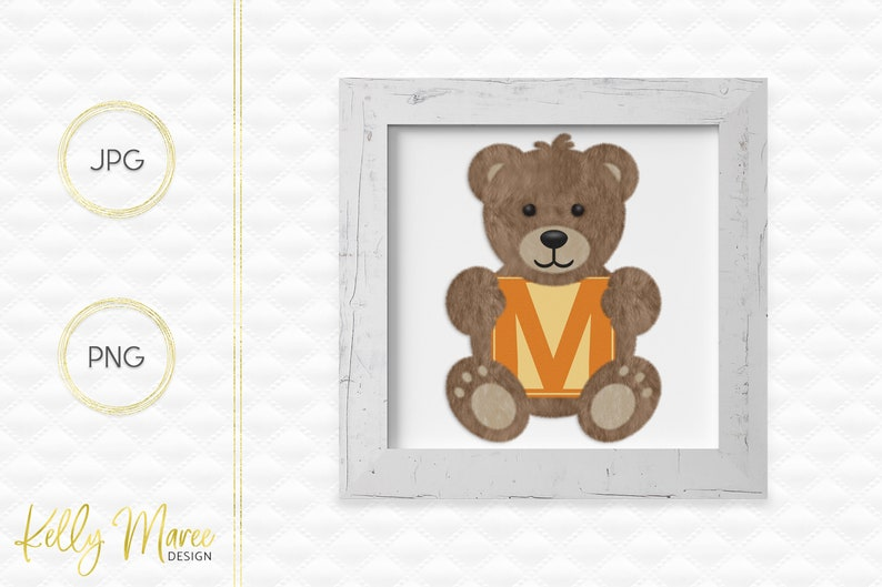 Letter M Bear Clipart  Alphabet Graphics  Teddy Bear Graphic image 0
