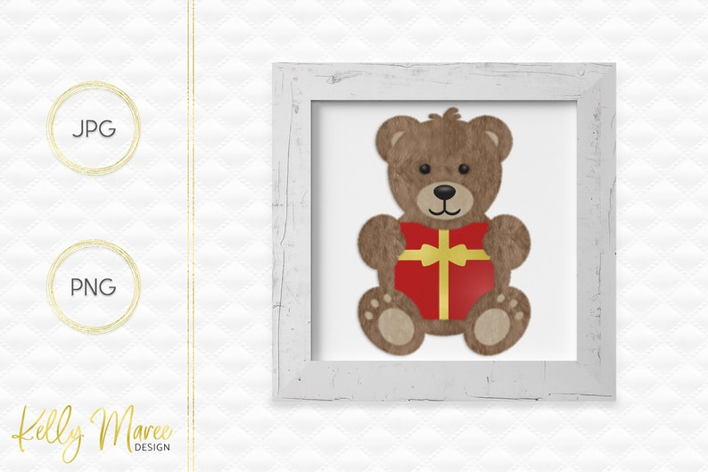 Christmas Bear Clipart  Bear Graphics  Teddy Bear Graphic  image 0