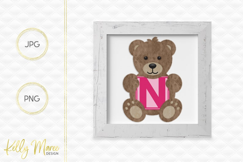 Letter N Bear Clipart  Alphabet Graphics  Teddy Bear Graphic image 0