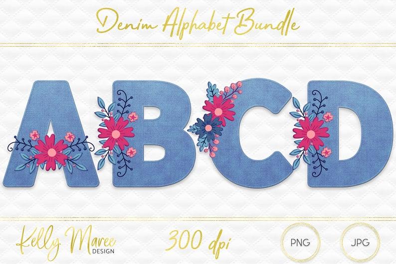 Denim Alphabet Graphic Bundle  Clipart  Alphabet Graphics  image 0