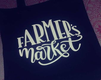 Farmer's Market Black Canvas tote