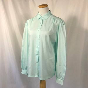 80/'s L Teal Green Long Sleeve Polyester Blouse w Bow Tie Neck and Button Closure