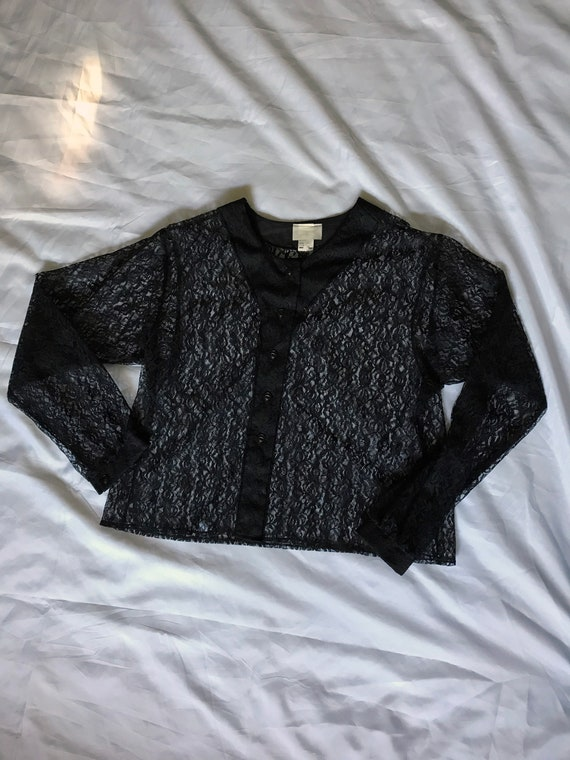 Black Lace Blouse / Summer Goth / XL Sheer Blouse… - image 6
