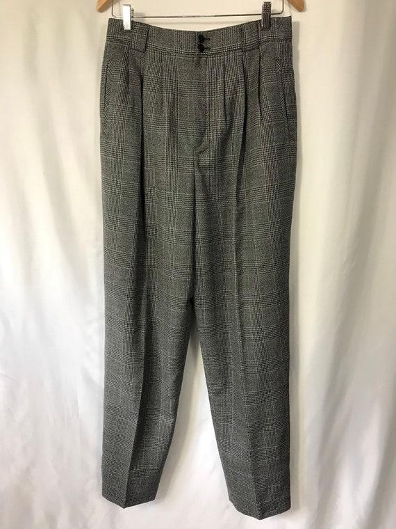 Gray Houndstooth Slacks / Size 12 Long / Size L /