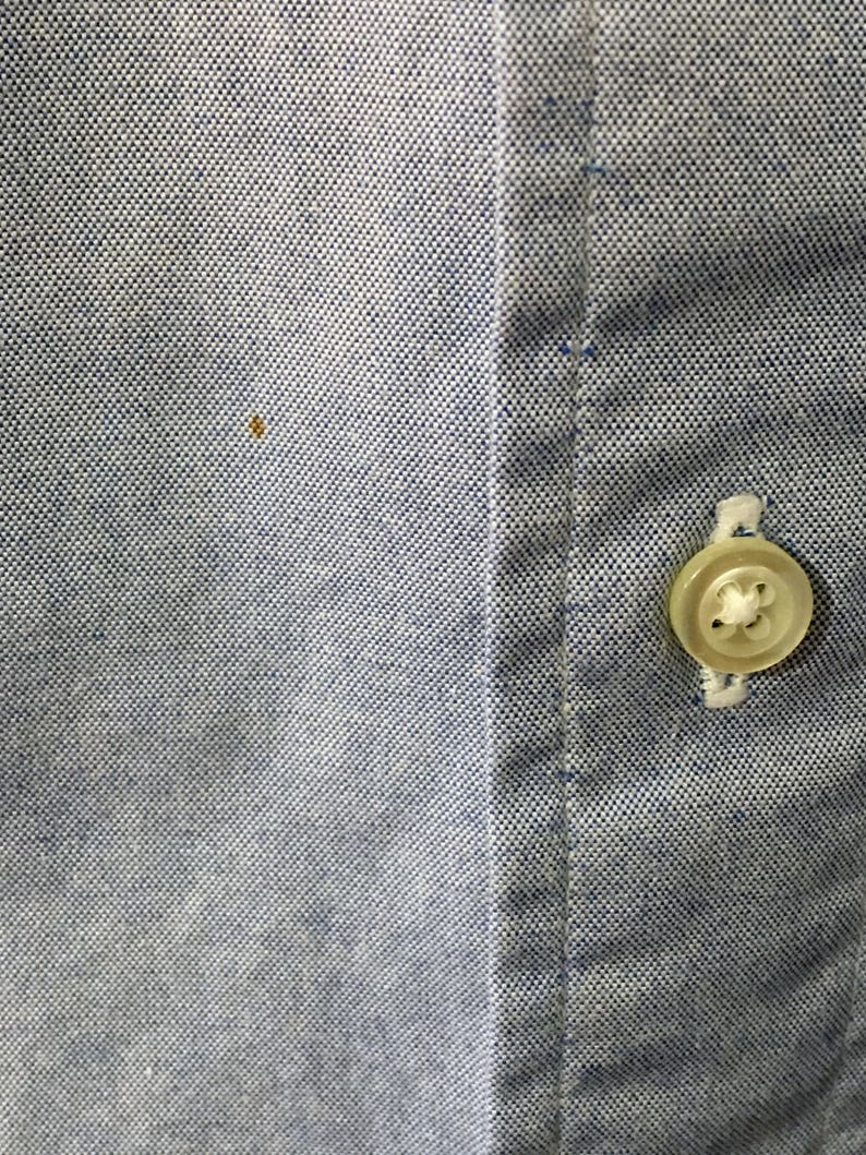 Made in America 90/'s Men/'s 1632 Blue Gitman Bros For Perlis New Orleans Pinpoint Cotton Oxford Button-Down Long-Sleeve
