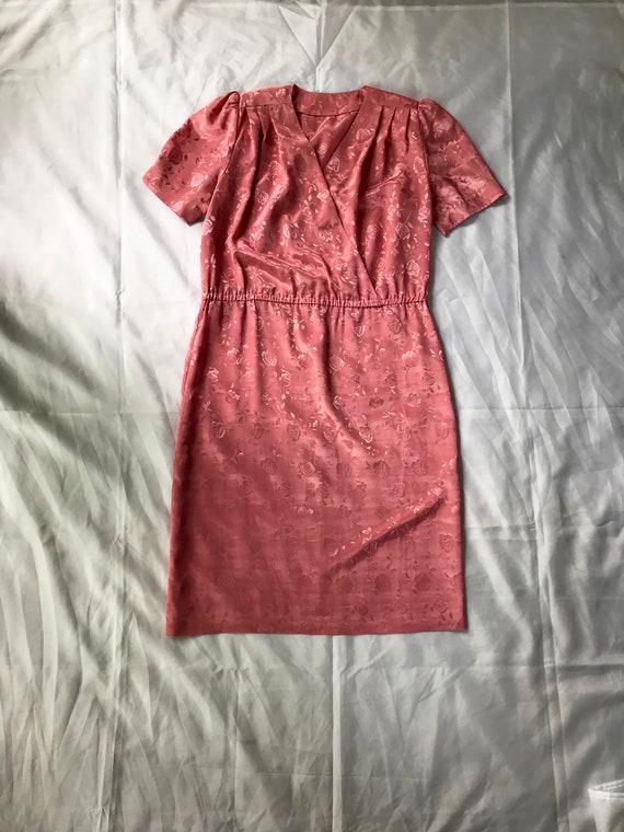 Pink Satin Dress / Jacquard Satin Dress / L / 80's
