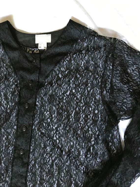 Black Lace Blouse / Summer Goth / XL Sheer Blouse… - image 2