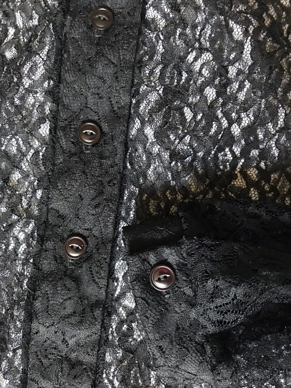 Black Lace Blouse / Summer Goth / XL Sheer Blouse… - image 3