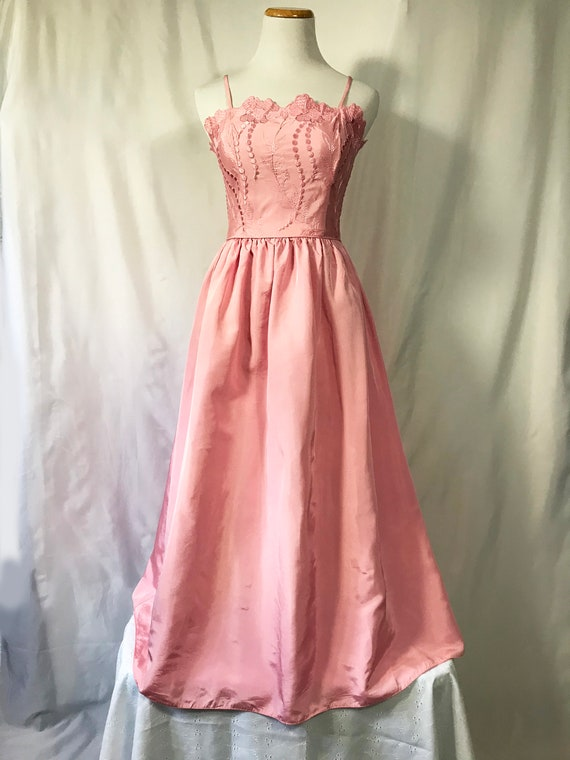 Pink Taffeta Party Dress / Size XS / 60's Floral P