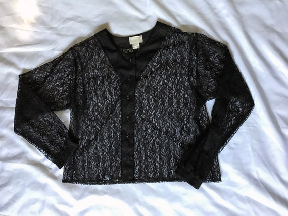 Black Lace Blouse / Summer Goth / XL Sheer Blouse… - image 1