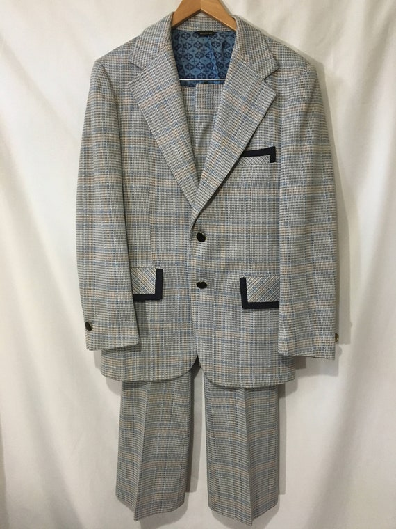 60's Men's 30R Two-Piece Suit Powder Blue Funky Ho