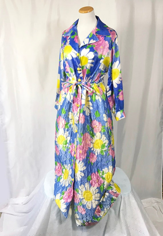 70's Mod Floral House Dress / Quilted House Dress
