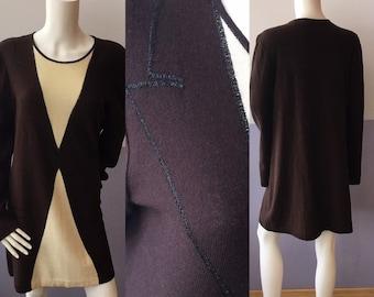afdc483d46c vintage trompe l'oeil tuxedo print brown cream with black mettalic outline  knit SONIA R RYKIEL soft angora wool shift dress