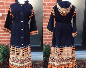 vintage 1970s hooded bellsleeved graphic ethnic indian style dressrobe with real bamboo buttons hippy chic at its fun and best maxi dress?