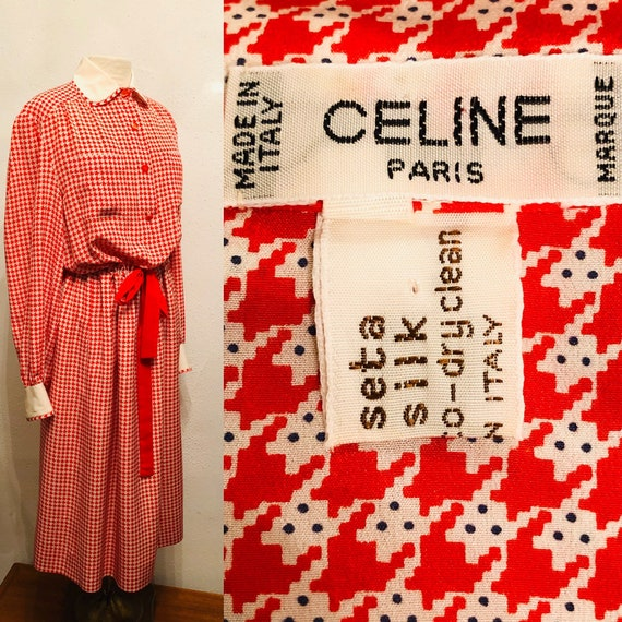 1980s CELINE red and white houndstooth print silk