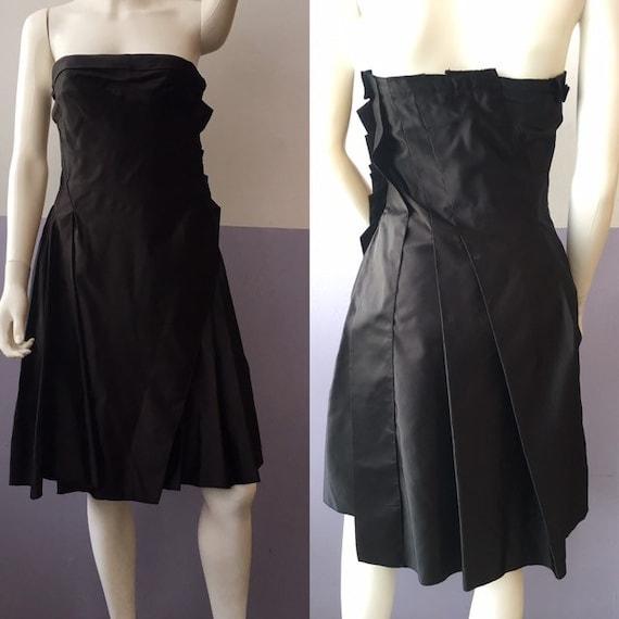 vintage PRADA black silk satin asymetrical pleated