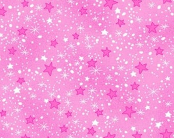 Pink Star Flannel Fabric - Comfy Flannel - A.E. Nathan