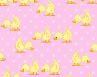 Pink Duck Flannel Fabric - Comfy Flannel - A.E. Nathan
