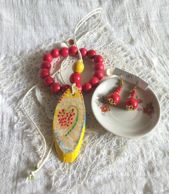 Ethnic artisan red yellow wood jewelry set painted wood pendant red earrings wooden bracelet festival folk jewelry gift women Viburnum art