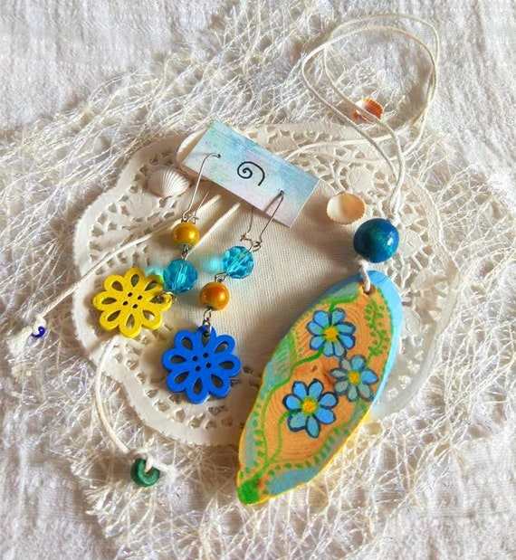 Yellow blue earrings & wood pendant folk jewelry set ethnic artisan painted wood jewelry flower earrings floral necklace gift box for girl