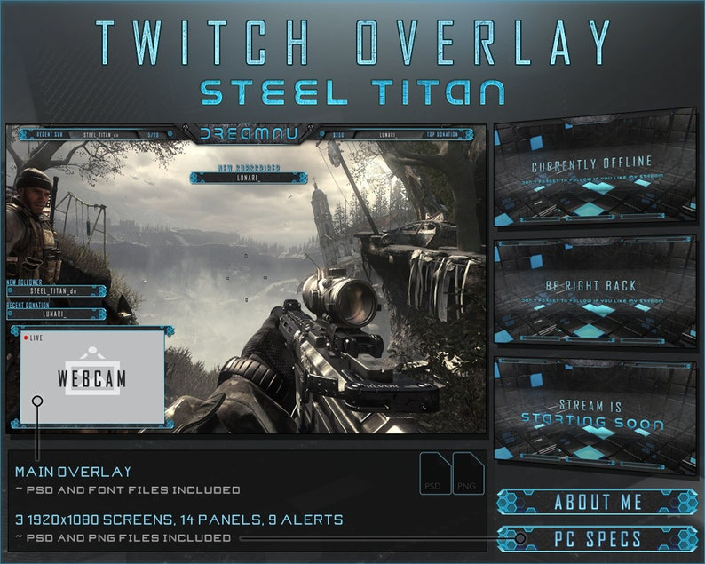 Twitch Stream Overlay Pack | Steel Titan - Blue [ Animated Alerts ]